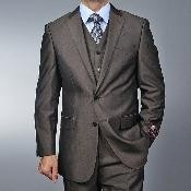 ID#RA3692 Fiorelli Coco Chocolate brown Teakweave 2-button Vested 3 ~ Three Piece suit