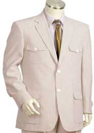 ID#RE4108 2pc Cotton Summer Pattern brown offwhite Seersucker suit