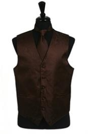 ID#VS2781 (Buy 10 of same color Tie For $25 Each) Paisley tone on tone Groomsmen Ties Combo Coco Groomsmen Wedding Vest ~ Waistcoat ~ Waist coat For Groom and Groomsmen Chocolate brown