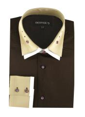 100% Cotton Solid Brown Double Spread Collar French Cuff Dress Groomsmen Shirts