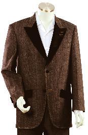 ID#NR5679 Stylish Coco Chocolate brown Fashion Unique Fashion Tuxedo For Men Denim Cotton