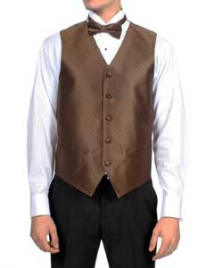 ID#PN-1 Dark Coco Chocolate brown Diamond Pattern 4-Piece Wedding Vest For Groom and Groomsmen Combo Big and Tall  Large Man ~ Plus Size Suits