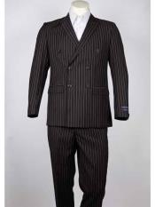 ID#SM940 Pinstripe Coco Chocolate brown Double Breasted Peak Collared Summer Lightweight Material Summer Polyester Suits Men