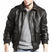 Coco Chocolate brown Lambskin Leather skin Available in - Big and Tall Bomber Jacket