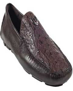 ID#KA5567 Coco Chocolate brown Genuine Full Quill Ostrich Drivers Vestigium Driving Cheap Priced Exotic Skin Shoes For Sale For Men slip on Prom Loafer