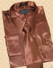 ID#HU811 Satin Coco Chocolate brown Dress Cheap Fashion Clearance Shirt Sale Online For Men Tie Hanky Combo