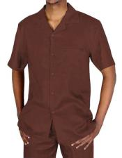 Brown Short Sleeve Collared