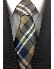 ID#DB17164 Fashion Brown Tan White And Navy Classic Plaid Design Tie Polyester Neck Groomsmen Ties