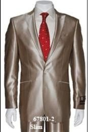 ID#Shark2 Shiny Sharkskin Flashy Tan Wedding / Prom~champagne ~ beige~Taupe Two buttons Style Jacket Flat Front Pants Notch Collar