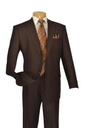 ID#KA5977 Coco Chocolate brown Two buttons 2 Piece Italian Cut Big And Tall Mens Suits