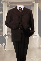 Chocolate brown 3pc Pinstripe