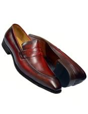 Burgundy Burnished Calfskin Leather