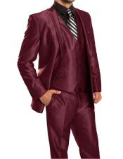 ID#KO18638 Wedding Burgundy Prom 5 Buttons Sharkskin Flashy Metallic Silky Shiny 3 Piece Inexpensive