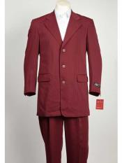 ID#SM1029 Burgundy Shadow Ton on Ton stripe Three buttons Pleated creased Pants
