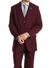 ID#SM1220 Wedding Prom Classic 1920s  Suny Vested Notch Collared 3 ~ Three Piece - Burgundy Suit
