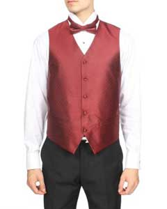 Wedding Burgundy Prom ~ Maroon Wedding Prom ~ Wine Color Red Prom pastel color Diamond Pattern 4-Piece Wedding - men's Vest For Groom and Groomsmen Combo Big and Tall  Large Man ~ Plus Size Suits