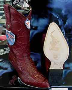 ID#X48-R Wild West Burgundy ~ Maroon ~ Wine Color Genuine crocodile skin ~ Gator skin western  Boot (EE)