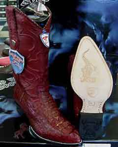 Wild West Burgundy ~ Maroon ~ Wine Color Genuine crocodile skin ~ Gator skin western Dress