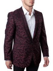 ID#DB23418 Side Vents Wedding Burgundy Prom ~ Maroon Suit Wedding Prom 1 Button  Prom ~ Wedding Groomsmen Tuxedo