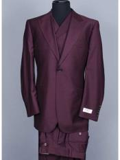 ID#SM1223 Discounted Online Sale Brand 3 ~ Three Piece Big Peak Collared Suit Vested Wide Leg Pants Single Buttons Suit Wool fabric Full Cut Wedding Burgundy Prom Outfit Double Breasted Vest