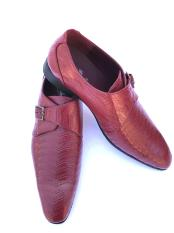 ID#DB18272 Two Toned Burgundy ~ Wine Stylish Wave Designed Cap Toe Buckle Strap Dress Cheap Priced Exotic Skin Shoes For Sale For Men