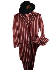 ID#SP25058 Button Closure Burgundy And Bold Pronounce White Stripe ~ Pinstripe Striped Fashion 2020 New Formal Style! Longer Jacket Notch Lapel 1920s Mens Fashion Clothing 1930s 50s Outfit Costume Zoot Suit