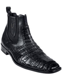 ID#KA2887 Genuine Caiman skin ~ Gator skin Belly Formal Shoes For Men Dark color black Dress Short Boot
