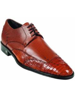 ID#MK924 Caiman skin (Gator) Belly Skin Light Brown ~ Cognac Dress Cheap Priced Exotic Skin Shoes For Sale For Men