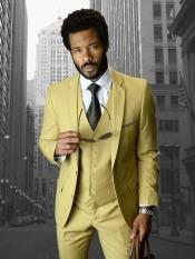 Camel ~ Gold ~ Khaki Inexpensive ~ Cheap ~ Discounted Clearance Sale ~ 3 Piece Suit 2 Buttons Style Wool Fabric Slim Fit Suit