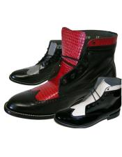 ID#DB24715 Cap Toe Eyelet Lacing Leather White ~ Gray ~ Red Mens Prom Shoes For Men