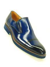 ID#DB23121 Cobalt Match Bottom Edge Slip On Cap Toe Style Prom Loafer Carrucci Shoe