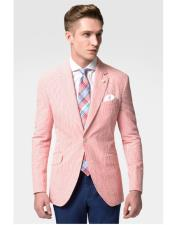 ID#VI20127 Fashion Casual Slim Fit Christmas Red Prom Stripe Seersucker Best Inexpensive ~ Cheap ~ Discounted Blazer Suit Jacket For Affordable Cheap Priced Unique Fancy For Men Available Big Sizes on sale Men Affordable Sport Coats Sale