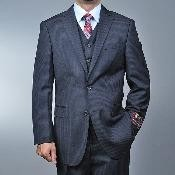 ID#RD6663 Dark Charcoal Masculine color Grey 2-button Vested 3 ~ Three Piece suit