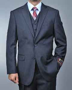 ID#SD7289 Dark Charcoal Masculine color Grey 2-button Vested 3 ~ Three Piece Cheap Priced Fitted Tapered cut Suit