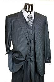 ID#JR7834 Dark Charcoal Masculine color Pinstripe 3pc Two buttons Italian Designer Suit Charcoal Masculine color
