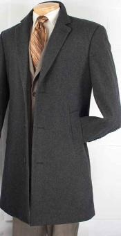ID#BX8289 Car Coat Collection in a Soft Cashmere Blend - Dark Charcoal Masculine color Grey Overcoat