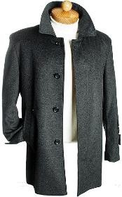 ID#GB7232 3 Quarter Dark Charcoal Masculine color Wool fabric Jacket Overcoat