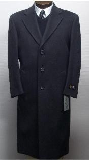 ID#Sentry3310 45 Inch Dark Charcoal Gray classic model features button front Wool & Cashmere Mens Overcoat