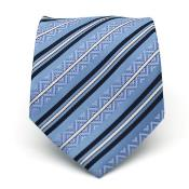 ID#KA6778 Slim Classic Blue Striped Neck Groomsmen Ties with Matching Handkerchief - Tie Combo