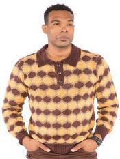 Long Sleeve Jacquard Polo