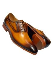 Cognac Burnished Calfskin Leather
