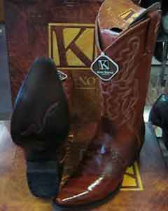 ID#SS-9874 King Exotic Cognac Snip Toe Genuine Eel western  Boot