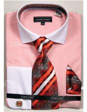 ID#VJ16846 100% Cotton French Cuff Coral Textured Pattern Cheap Fashion Clearance Shirt Sale Online For Men With Tie & Hanky
