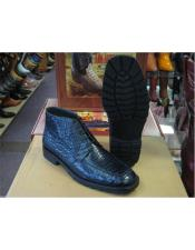 ID#IS19881 Los Altos Genuine All Crocodile Caiman Navy Color Ankle Boot