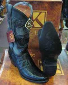 ID#SM198 King Exotic Dark color black Snip Toe Formal Shoes For Men Genuine crocodile skin Leather skin Piping western Boot EE
