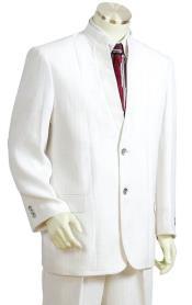ID#DB23828 Button Fastener Mandarin Collar Cross Stripe White Zoot Suit