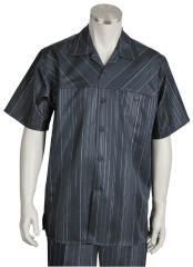 Striped Short Sleeve Black