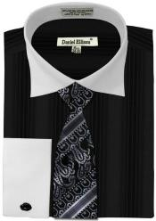 Daniel Ellissa Basic Two Tone French Cuff Dress Cheap Fashion Clearance Shirt Sale Online For Men Combo Dark color black
