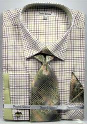 ID#MK746 Daniel Ellissa Graph Checker French Cuff Dress Cheap Fashion Clearance Shirt Sale Online For Men Combo Dark Green