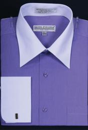 ID#MK658 Daniel Ellissa Bright Two Tone Big And Tall Large Man ~ Plus Size 18 19 20 21 22 Inch Neck French Cuff Lavender Dress ~ Cheap ~ Fashion Clearance Shirt For Men And Tall Groomsmen Shirts